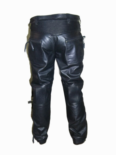 BESPOKE GENUINE MENS PREMIUM LEATHER BIKER JEANS PADDED FRONT WITH SPANDEX PANTS