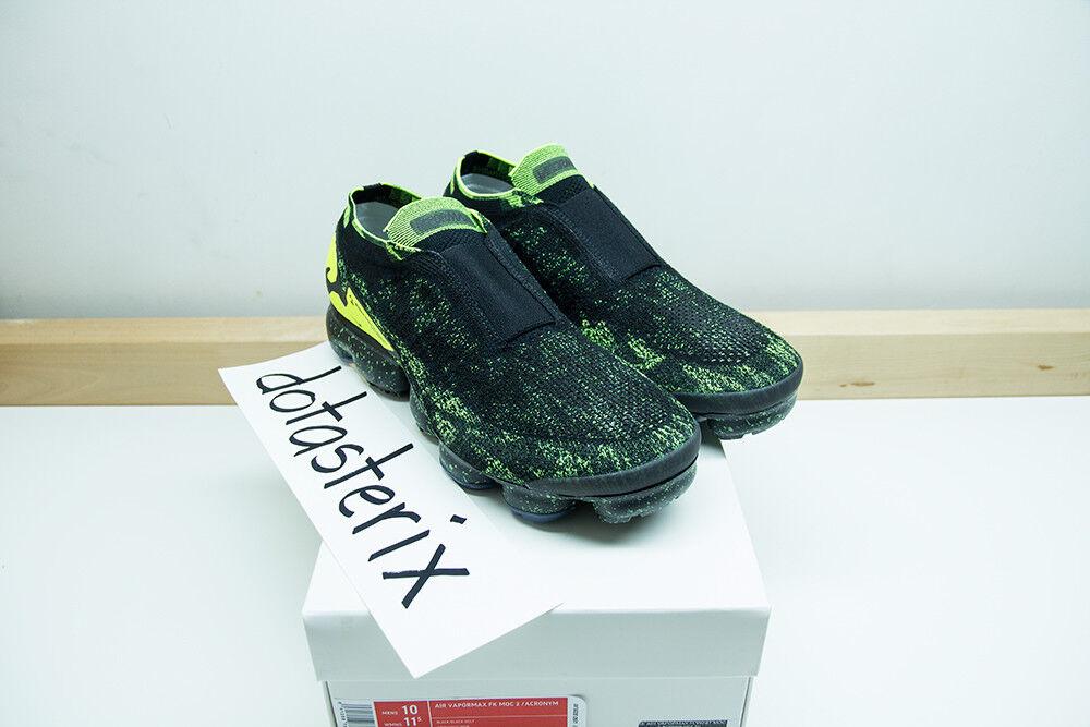 Nike Air Vapormax FK Moc 2 Acronym Black Neon Volt Men's Size 10 - READY TO SHIP
