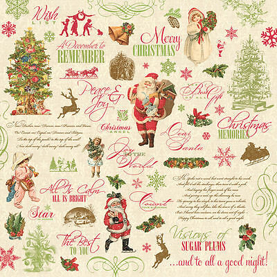 "CHRISTMAS Scrapbook Paper 12/"" Yuletide Words Journal Icons Santa 5p Snowflake"