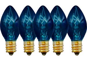 C-7 BLUE CLEAR STEADY CHRISTMAS LIGHT BULBS BRAND NEW 1 BOX OF 25 C7 E12