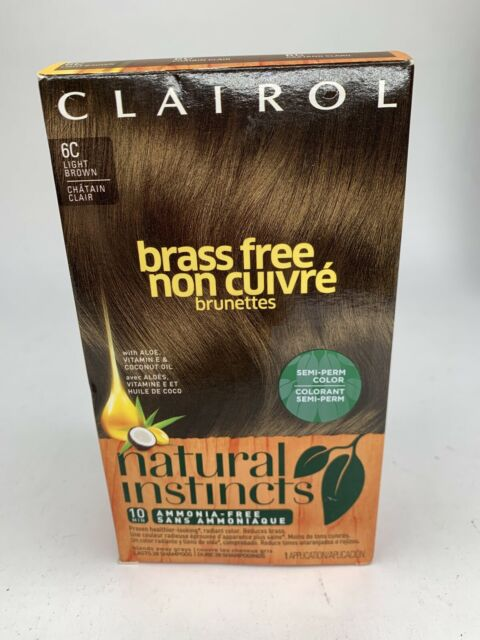 Clairol Natural Instincts 6C Brass Free Light Brown Semi-Perm Color Ammonia-Free
