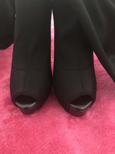 Fitted Luichiny High Uk By Boots Stiletto Black Toe Stretchy Peep 6 Sexy SwztZ