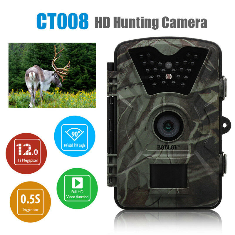 HD Trail Camera 12MP 1080P 2.4 Inch Infrared Night Vision Wildlife Hunting LED