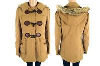 Ladies Womens Girls New Fur Plain Hooded Toggle Duffle Jacket Coat  Size 6-16