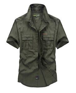 Stylish-Summer-Men-Cotton-Military-Jeans-Shirt-Short-Sleeve-Double-Pockets-Shirt