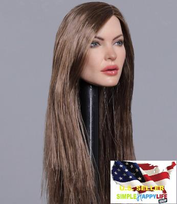"""1//6 Scale Asian Female Head Sculpt Brown Hair 12/"""" Phicen SUNTAN Figure ❶USA❶"""