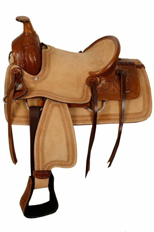 Double T hard seat roper style saddle with acorn tooling 13