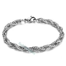 6mm Classic Polished Stainless Steel Cord Chain Men's Women's Bangle Bracelets