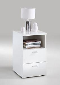 nachtkonsole nachtkommode nachttisch hochglanz wei boxspringbett 652 101 ebay. Black Bedroom Furniture Sets. Home Design Ideas