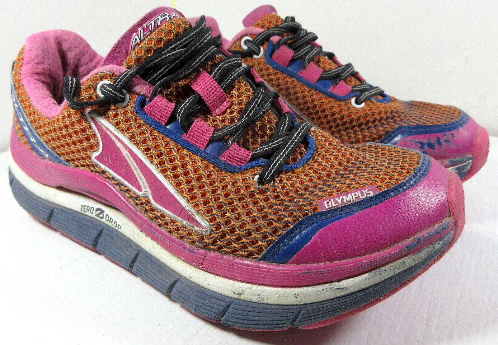 Altra Olympus Zero Drop Trail Running shoes Pink orange A2355-1 Size 7 US Women