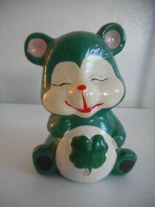 Vintage Chalkware or ceramic Green Bear Bank Carnivalware