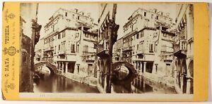 Carlo Naya ,Italia Venezia,Palazzo Widmann,Foto Stereo Vintage Albumina c1865