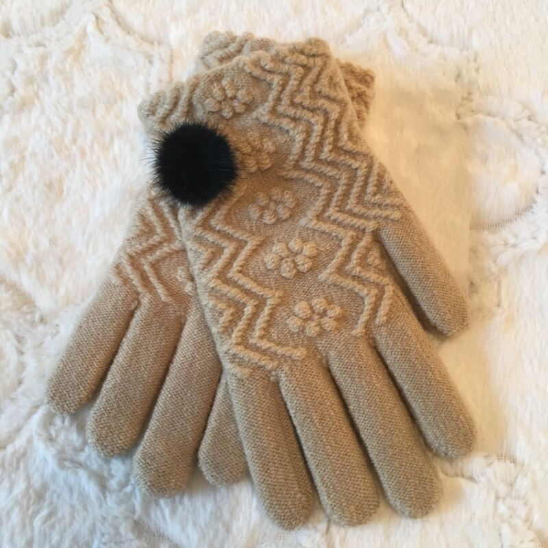 Fast Deliver Coco + Carmen Beige Women's Gloves One Size Soft Warm Knit Floral Geo Print Nwt Limpid In Sight