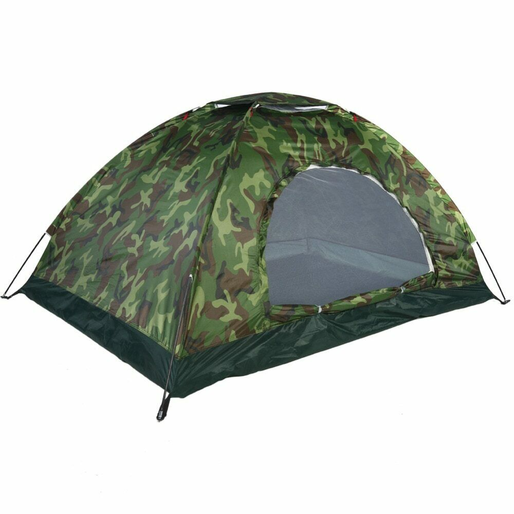 Portable Camouflage Tent Army 1-4 People Outdoor Camping  Hiking Waterproof Tents  best prices and freshest styles