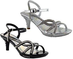c5413551dff Girls Stiletto Mid Heel Ankle Strap Platform Wedding Evening Sandals ...