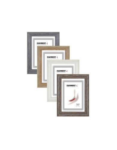 blanc Cadre photo bois avec 2 glasarten classique barre 261 en gris nature