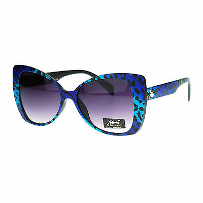 Giselle Womens 80s Neon Color Leopard Animal Print Cat Eye Butterfly Sunglasses
