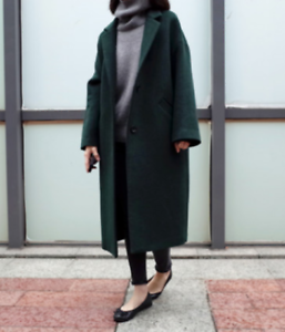 New Fashion Womens Retro Oversize Wool Blended Parka Long Coat Ladies Outwears