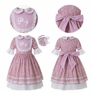 Kids Girl Flower Print Lace Dresses Communion Party Pageant Summer Sundress Pink