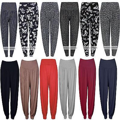 Women Ladies Butterfly Polka Dot Print Plain Ali Baba Baggy Hareem Trouser Pant Direktverkaufspreis
