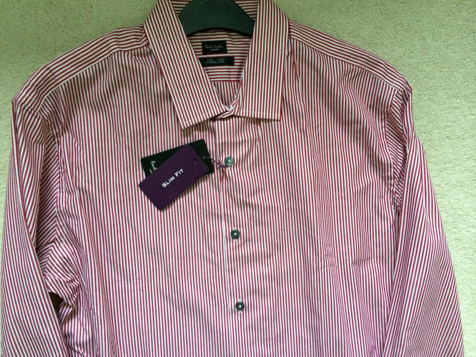 Paul Smith London rosso Stripe LS Shirt-Taglia 17 43-Slim Fit-p2p 22.5