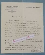 L.A.S 1932 Docteur A. GRANDIS médecin à MANOSQUE - Lettre autographe LAS