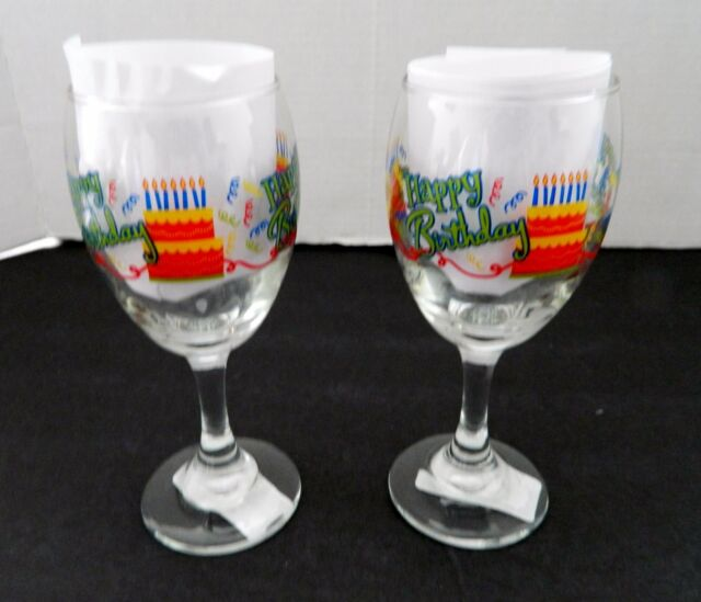 Cristar Aragon Wine Glasses Stem Ware Glass 10 Oz Two NWT Happy Birthday Cake