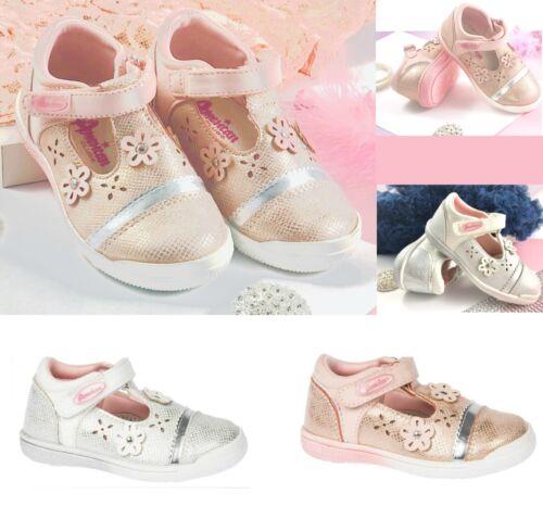 Niñas primavera verano T Bar Hook /& Loop Sujetador Zapatos Plantilla de cuero real 4-8