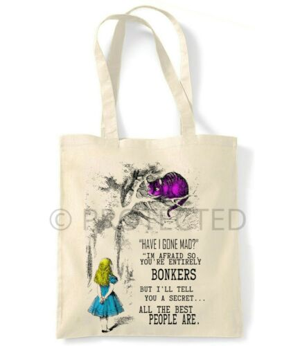 ALICE IN WONDERLAND ENTIRELY BONKERS ECO FRIENDLY SHOPPING CANVAS TOTE BAG