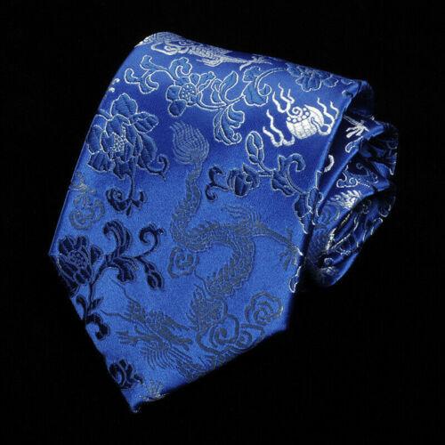 Herren Drachen Muster Krawatte Satin Seidenartig Hochzeit Chinesischer Stil