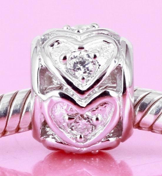 Solid 925 Sterling Silver ღ Heart Charm Bead W 6 Sparkling Cz Fit Bracelet