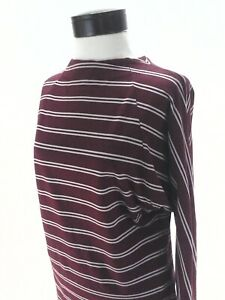 FREE-PEOPLE-Ardmore-Knit-Top-Burgundy-Stripe-Dolman-Tie-Neck-L-S-Boho-M-88