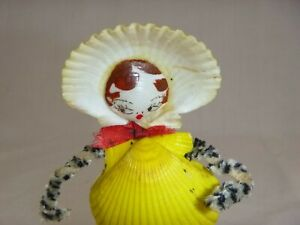 Vtg-Girl-Figurine-Hand-Painted-Seashells-and-Pipe-Cleaners-5-034-Kitschy-Kitsch