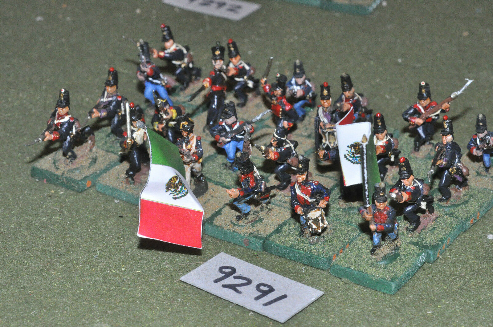 25mm ACW   mexican - american war infantry 24 figs metal painted - inf (9291)