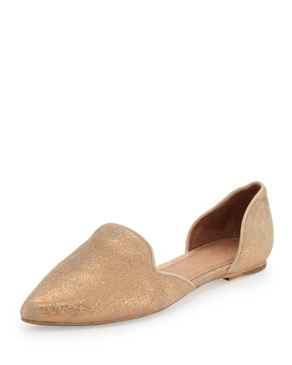 Joie Florence Metallic Shimmery d'Orsay Flat, Rose Gold SIZE 36 (6)    v530