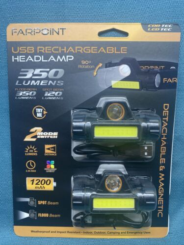 NEW Farpoint USB Rechargeable Headlamp Flashlight 350 Lumen 2-pack