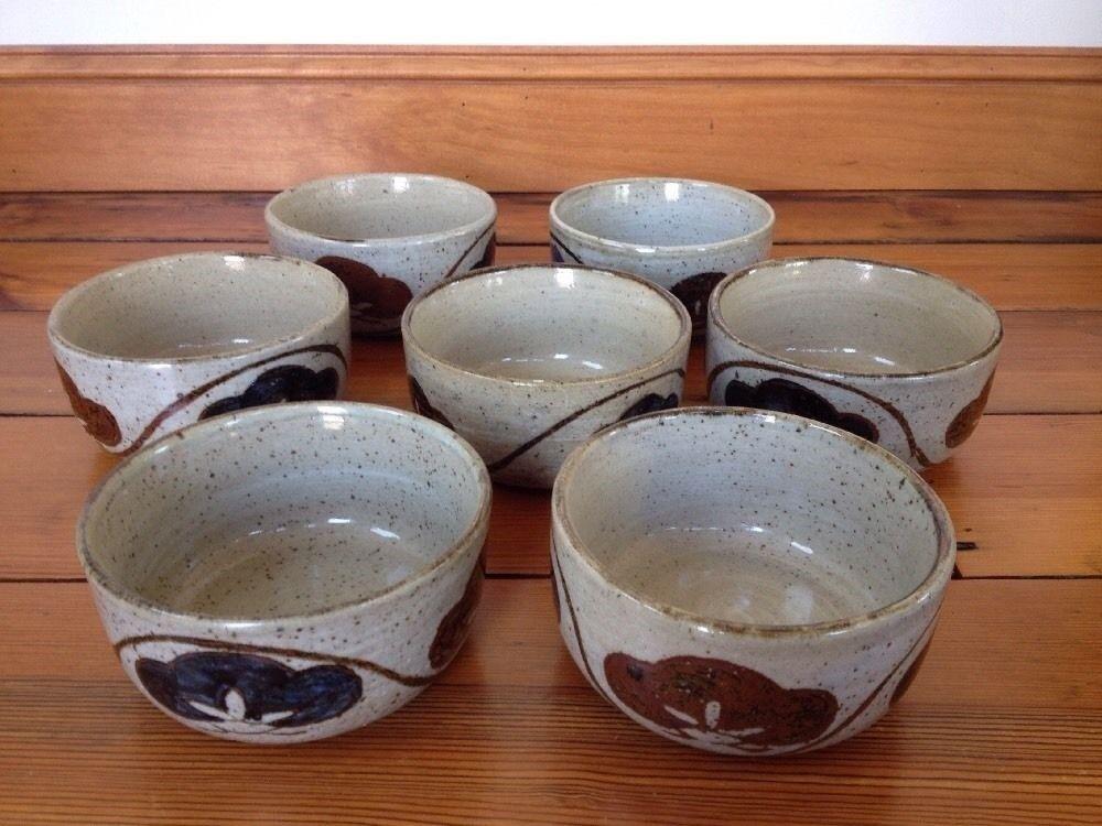 Set of 7 Vintage Handmade Japanese Stoneware Floral Salad Soup Bowls Pottery