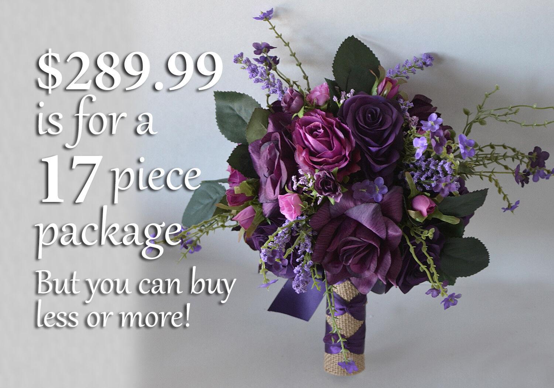 Mariage Bouquet Soie Fleur Mariage Demoiselle d'honneur Prune Mauve Lavande Aubergine violets
