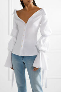 40814dba434 $460 NEW Caroline Constas MARGARET TOP Off the Shoulder Poplin ...