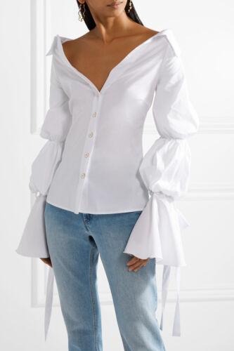$460 NEW Caroline Constas MARGARET TOP Off the Shoulder Poplin Blouse White S M