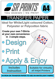 A4-Inkjet-Iron-on-T-Shirt-Transfer-Paper-for-White-Light-Garments-x-10-sheets