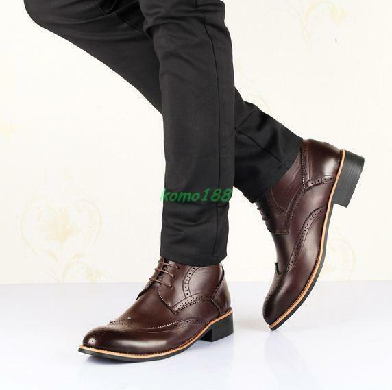 British style retro Mens lace up dress formal oxford Brogue wing tip ankle boots