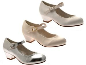 4ecb3025d99627 Image is loading GIRLS-KIDS-MARY-JANE-PARTY-SATIN-SHOES-BRIDESMAIDS-