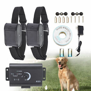 Electric-Dog-Fence-System-Waterproof-2-Shock-Collars-for-2-Dogs-New