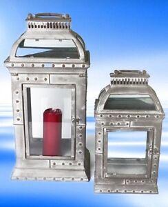 Laternen-Set-Gartenleuchte-Windlicht-Stall-Laterne-Metall-H51-32cm-Vintage-a2