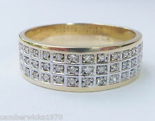 9ct Gold 0.20pt Diamond Pave Set 7mm Band Ring, Size S
