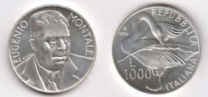 1996 Italia Lire 1000 Argento Eugenio Montale Fior Di Conio Unc