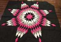 Black & Pink Zebra Quilt Top - Not Quilted, Machine Pieced