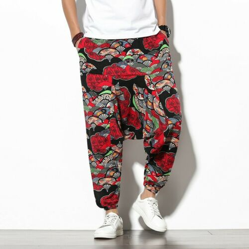 Men/'s Chinese style Printed Floral Drop Crotch Baggy Harem Pants Summer Loose B