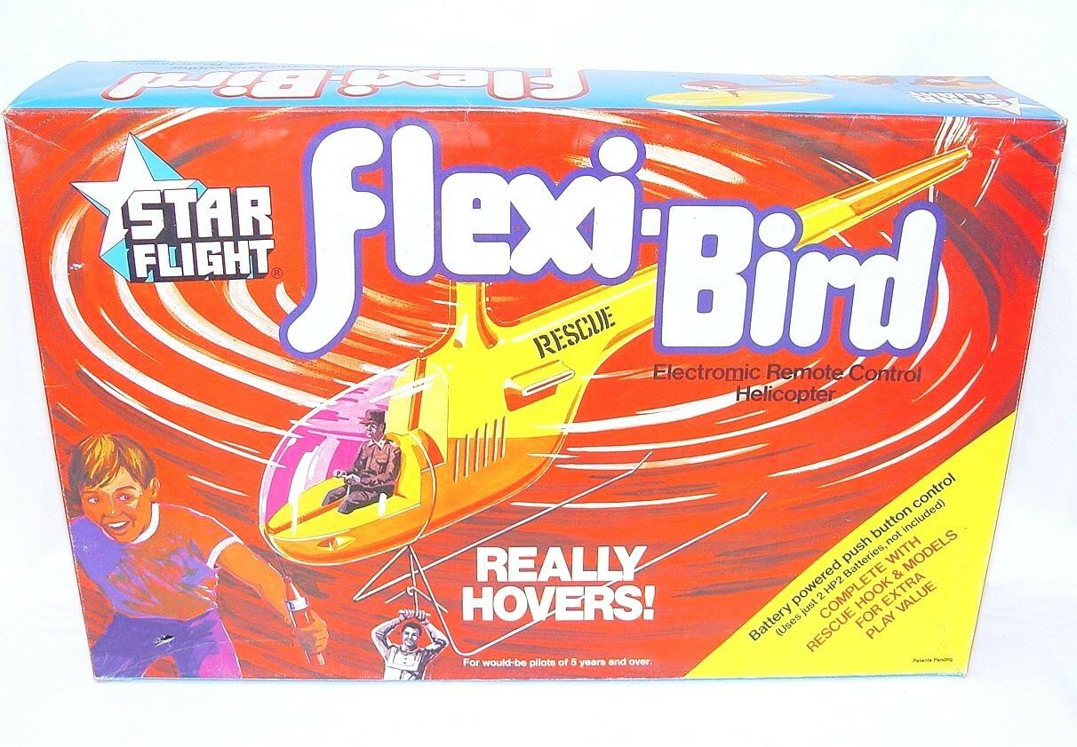 Timpo Toys STAR FLIGHT FLEXI-BIRD HELICOPTER Really Hovers  Play Set MIB`72
